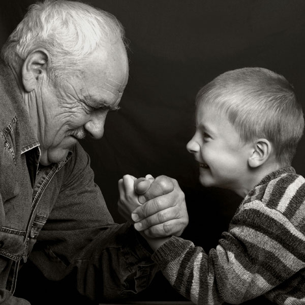 Grandpa and Grandson Playing